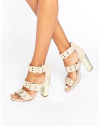 Office Natural Shots Eyelet Strap Suede Block Heeled Sandals