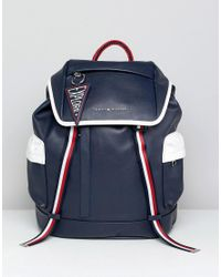 Tommy Hilfiger Blue Wanderlust Icon Trim Faux Leather Backpack In Navy for men