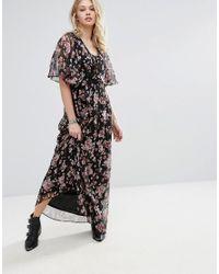 Mango Black Floral Print Maxi Dress