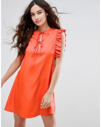 Fashion Union - Red Ruffle Sleeve Dress - Lyst