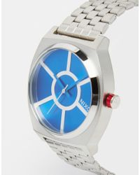 Nixon Blue R2-d2 Time Teller Watch In Silver - Silver for men