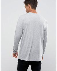 ASOS Longline Long Sleeve T-shirt In Gray for men