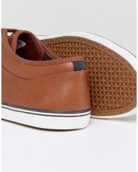 Fred Perry Brown Stratford Leather Sneakers In Tan for men
