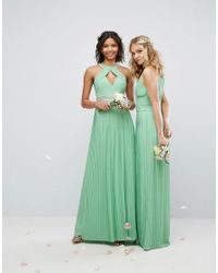 TFNC London - Green Wedding High Neck Maxi Dress With Pleat Detail - Lyst
