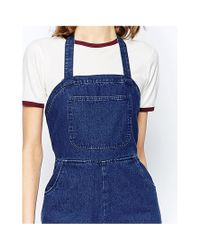 ASOS - Blue Denim Dungarees In Straight Leg With Halter Neck - Lyst