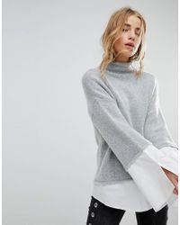 Urban Bliss Gray High Neck Knit With Shirting