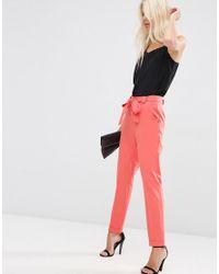 ASOS - Orange Cigarette Pants With Tie Waist - Lyst