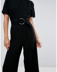 Warehouse - Black O-ring Jumpsuit - Lyst