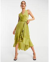 Золотистое Атласное Платье Миди С V-образным Вырезом -многоцветный AX Paris, цвет: Metallic