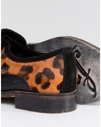 Free People - Black Leopard Slip On Loafer - Lyst