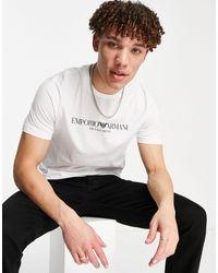 Белая Футболка С Текстовым Логотипом -белый Emporio Armani для него, цвет: White