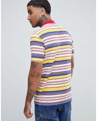 T-shirt décontracté en viscose flammée à rayures rétro et col roulé ASOS pour homme en coloris Multicolor