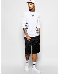 Hype - White Long Sleeve T-shirt With Camo Side Panels for Men - Lyst
