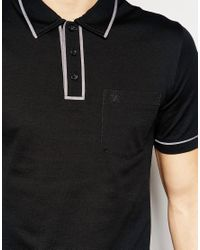 Original Penguin - Black Heritage Slim Fit Polo Shirt With Tonal Piping Detail for Men - Lyst