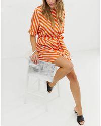 Серебристый Клатч С Отделкой Под Змеиную Кожу Эксклюзивно От -серебряный South Beach, цвет: Multicolor