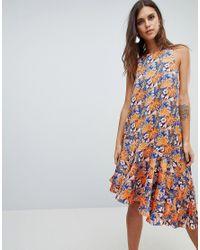 Y.A.S Multicolor Floral Print Asymmetric Midi Dress With Ruffle Hem