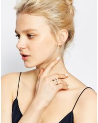 Monki - Metallic Twisted Rose Gold Pearl Ring - Lyst