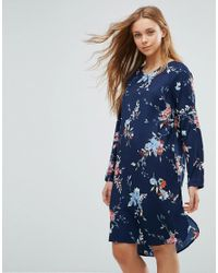 Vero Moda Blue Floral Shift Dress With Back Cut Out