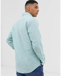 Tommy Hilfiger Blue Cotton Linen Stripe Shirt for men
