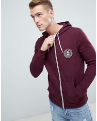 New Look Red Zip Through Hoodie With Mcmxc Print In Burgundy for men