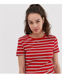 New Look Red Stripe Rib Tee