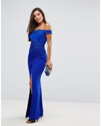 Lipsy Blue Off Shoulder Maxi Dress With Lace Trim