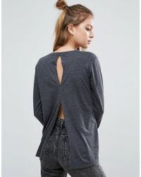 ASOS | Gray T-shirt With Long Sleeves And Split Back | Lyst