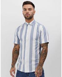 Camicia elegante a righe con vestibilità classica di Only & Sons in Blue da Uomo
