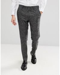 ASOS Black Asos Slim Suit Trousers In Moons Wool Rich Monochrome Check for men