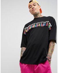 ASOS - Festival Oversized T-shirt In Black With Rainbow Fringing for Men - Lyst
