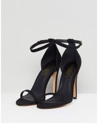 Truffle Collection Black Barely There Heel Sandal