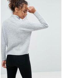 Miss Selfridge - Gray High Neck Sweater - Lyst