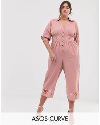 ASOS DESIGN Curve - Tuta jumpsuit da giorno ricamata di ASOS in Pink