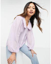 Сиреневая Блузка С Воротником .-фиолетовый Цвет Y.A.S, цвет: Purple