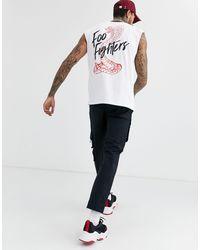 Camiseta sin mangas extragrande Foo Fighters ASOS de hombre de color White