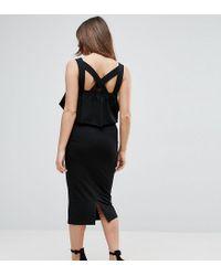 ASOS Black Asos Matenrity Ruffle Top Square Neck Midi Dress With Cross Back