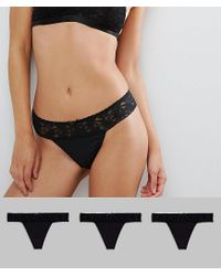 ASOS Black 3 Pack Leafy Lace Band & Microfibre Thong