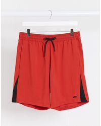 Pantalones cortos en rojo con paneles laterales Training Reebok de hombre de color Red