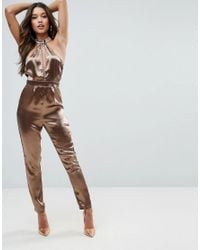 a7ea4854c8b Lyst - Missguided Hammered Satin Plunge Cut Out Jumpsuit in Metallic