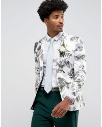 Men's White Wedding Super Skinny Blazer With Watercolor Floral Print