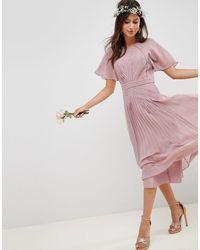 Vestito midi a pieghe con maniche corte e inserti di ASOS in Pink