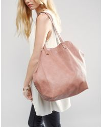 ASOS Pink Soft Shopper Bag With Removable Clutch