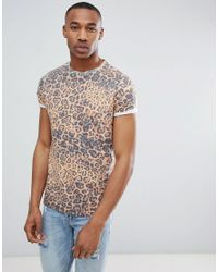 ASOS White T-shirt With Leopard Print for men