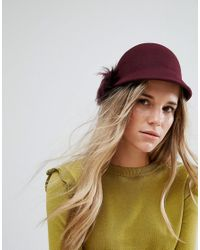 Ted Baker Felt Hat With Faux Fur Pompom in Red - Lyst f52c1ccd0ede