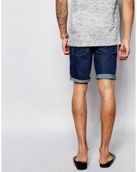 ASOS | Blue Denim Shorts In Skinny Fit Mid Wash for Men | Lyst