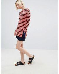 Ganni Red Michi Rib Striped Long Jumper