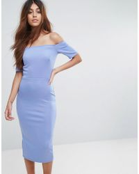 Oh My Love - Blue Bardot Bow Back Midi Dress - Lyst