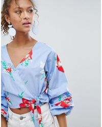 Miss Selfridge Blue Floral Print Puff Sleeve Wrap Blouse