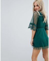 ASOS - Green Dobby Knot Front Lace Trim Mini Skater Dress - Lyst