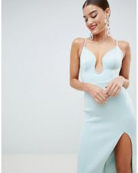 ASOS - Green Design Premium U Bar Bow Back Bodycon Midi Dress - Lyst